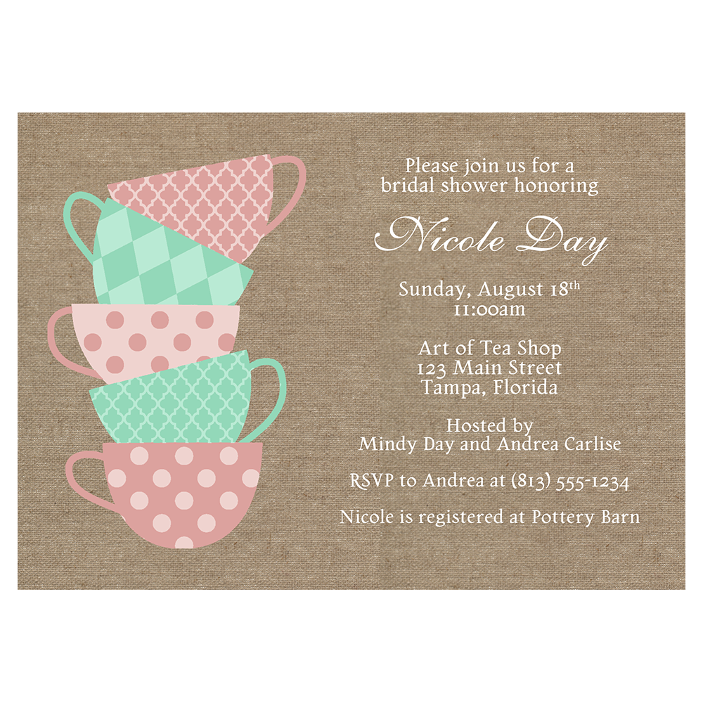 Burlap Tea Party Bridal Shower Invitation