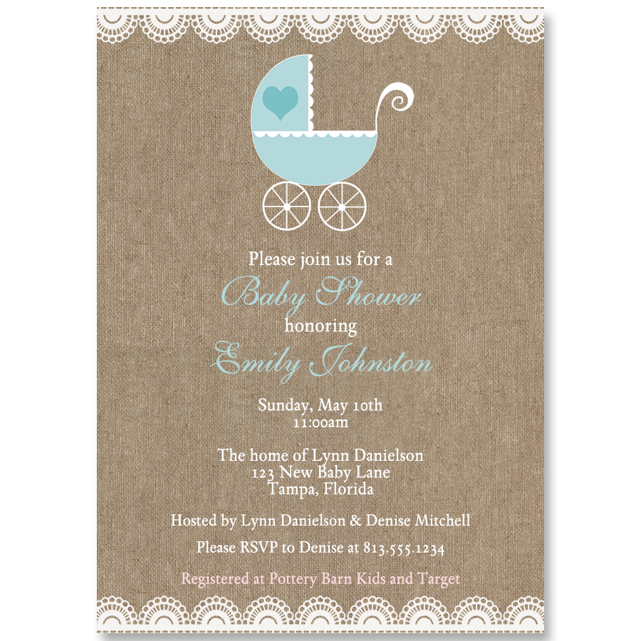 Burlap Carriage, Blue, Baby Shower Invitation
