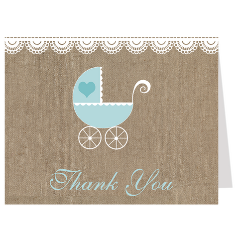 Burlap Carriage, Blue, Thank You Card