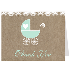 Burlap Carriage, Mint, Baby Shower Invitation