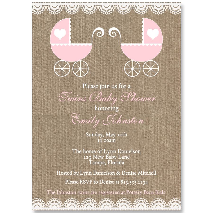 Burlap Carriage Twin Girls Baby Shower Invitation The Invite Lady