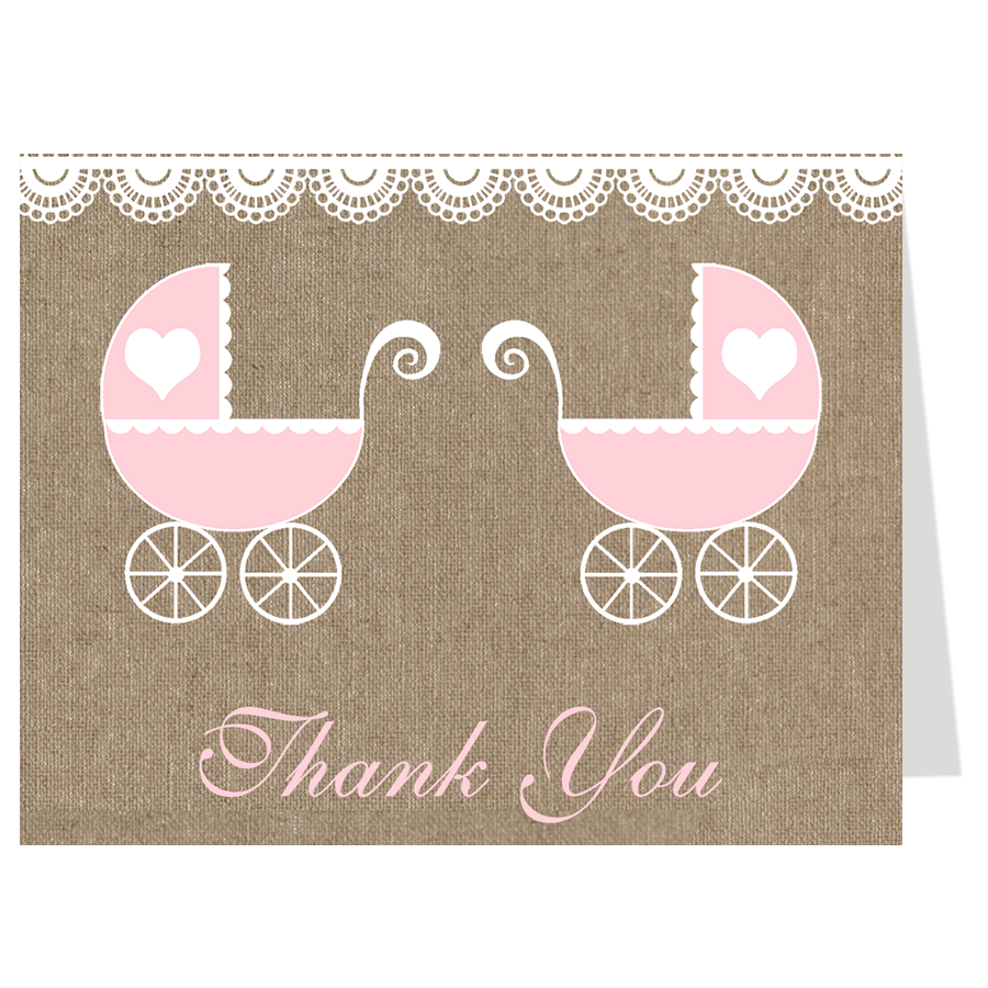 Burlap Carriage, Twin Girls, Thank You Card