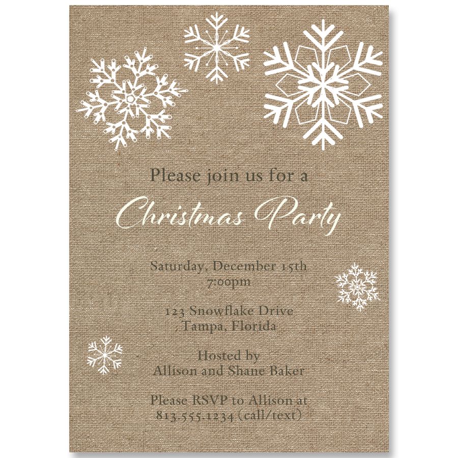Snowflakes & Burlap Christmas Party Invitation