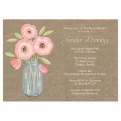 Burlap Mason Jar Baby Shower Invitation