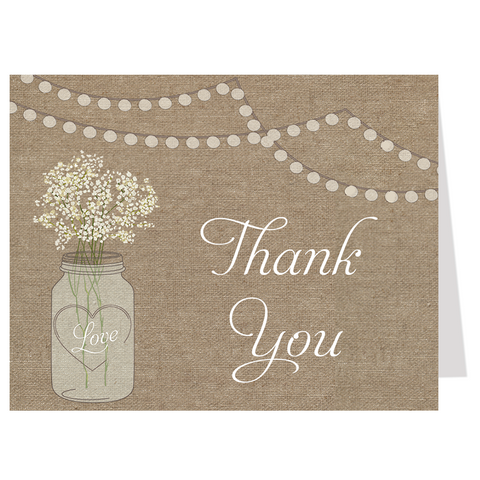 Burlap Mason White Jar Thank You Card