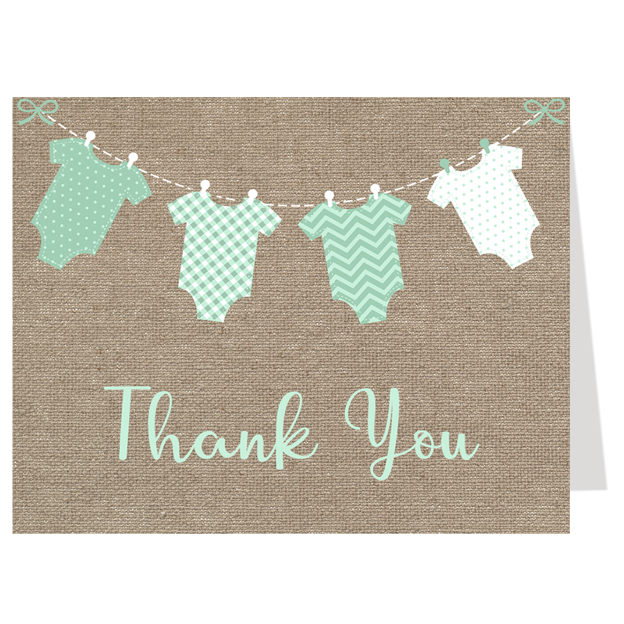 Burlap Onesies, Mint, Thank You Card
