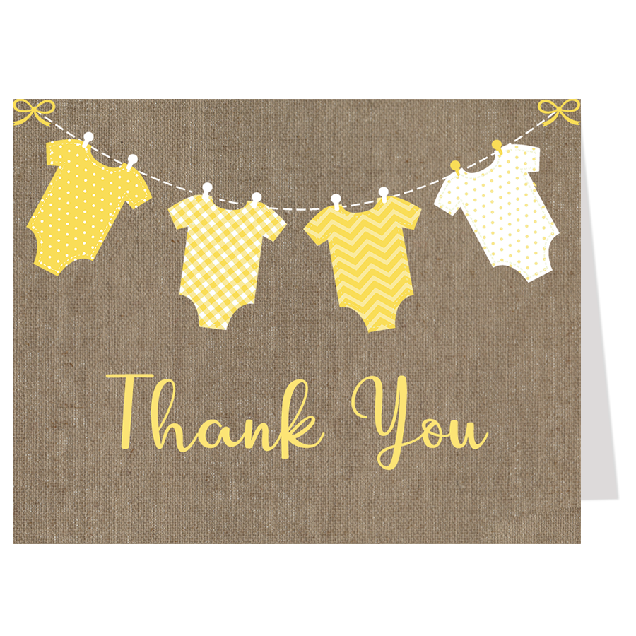 Burlap Onesies, Yellow, Thank You Card