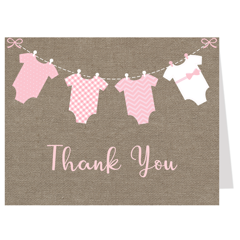 Burlap Onesies, Pink, Thank You Card