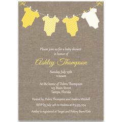 Burlap Onesies, Yellow, Baby Shower Invitation