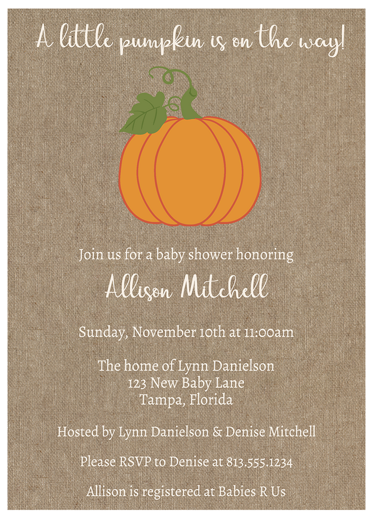 Burlap Pumpkin Baby Shower Invitation