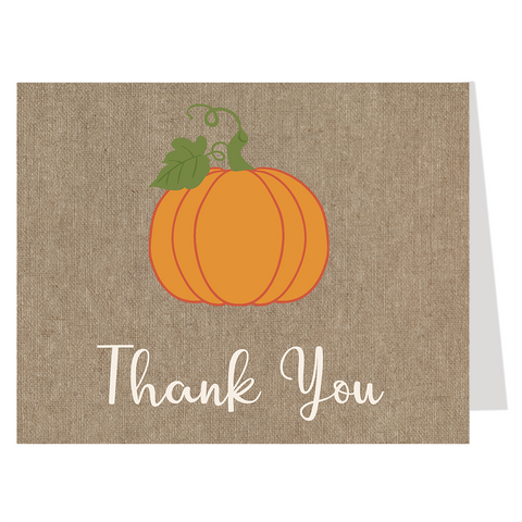 Burlap Pumpkin Thank You Card