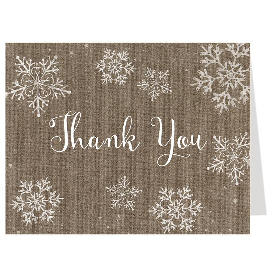 Snowflakes Burlap Thank You Card
