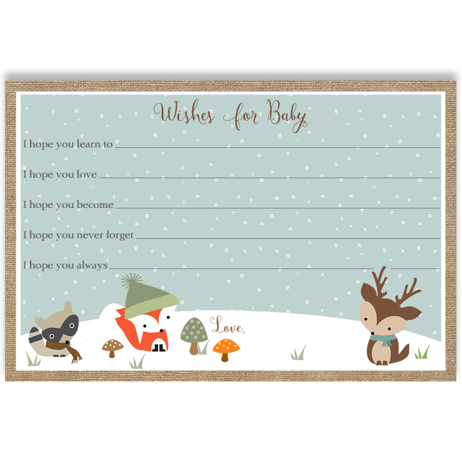 Winter Woodland Friends Burlap Unisex Wishes Card