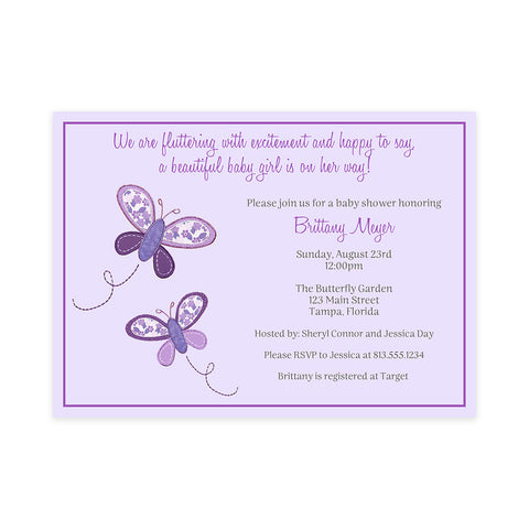 Butterfly Kisses, Purple, Baby Shower Invitation