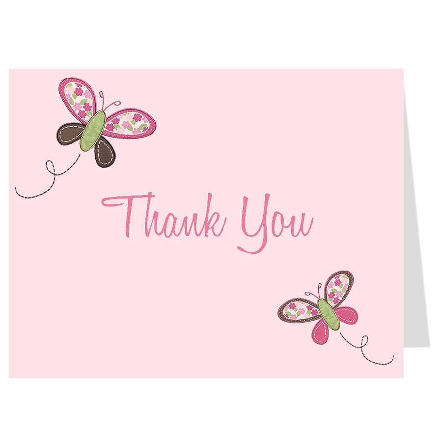 Butterfly Blossom Pink Thank You Card