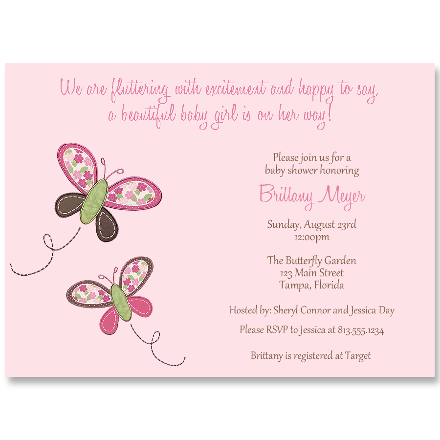 Butterfly Kisses, Pink, Baby Shower Invitation
