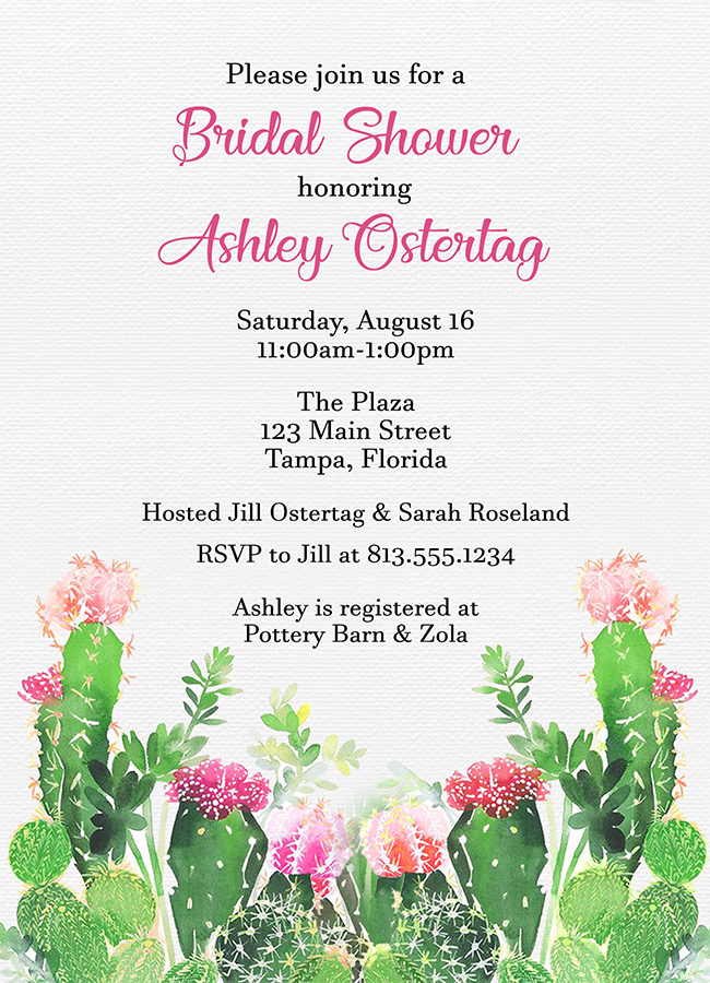Cactus Bridal Shower Invitation