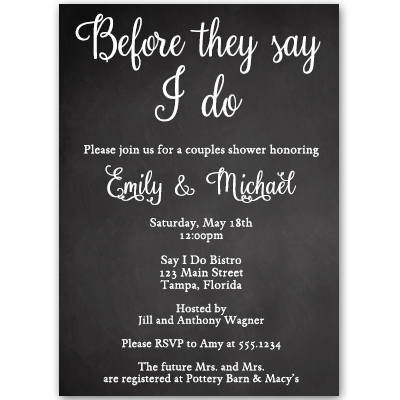 Chalk It Up to Love Couples Shower Invitation
