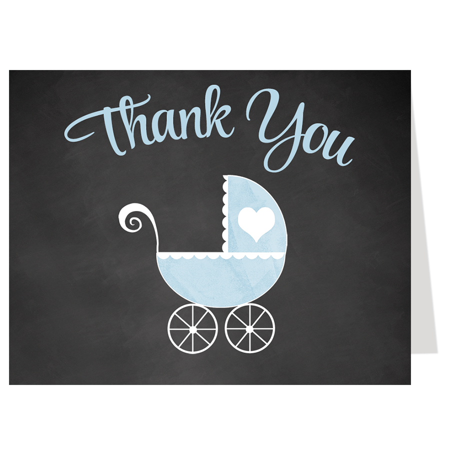 Chalkboard Carriage, Blue, Thank You Card