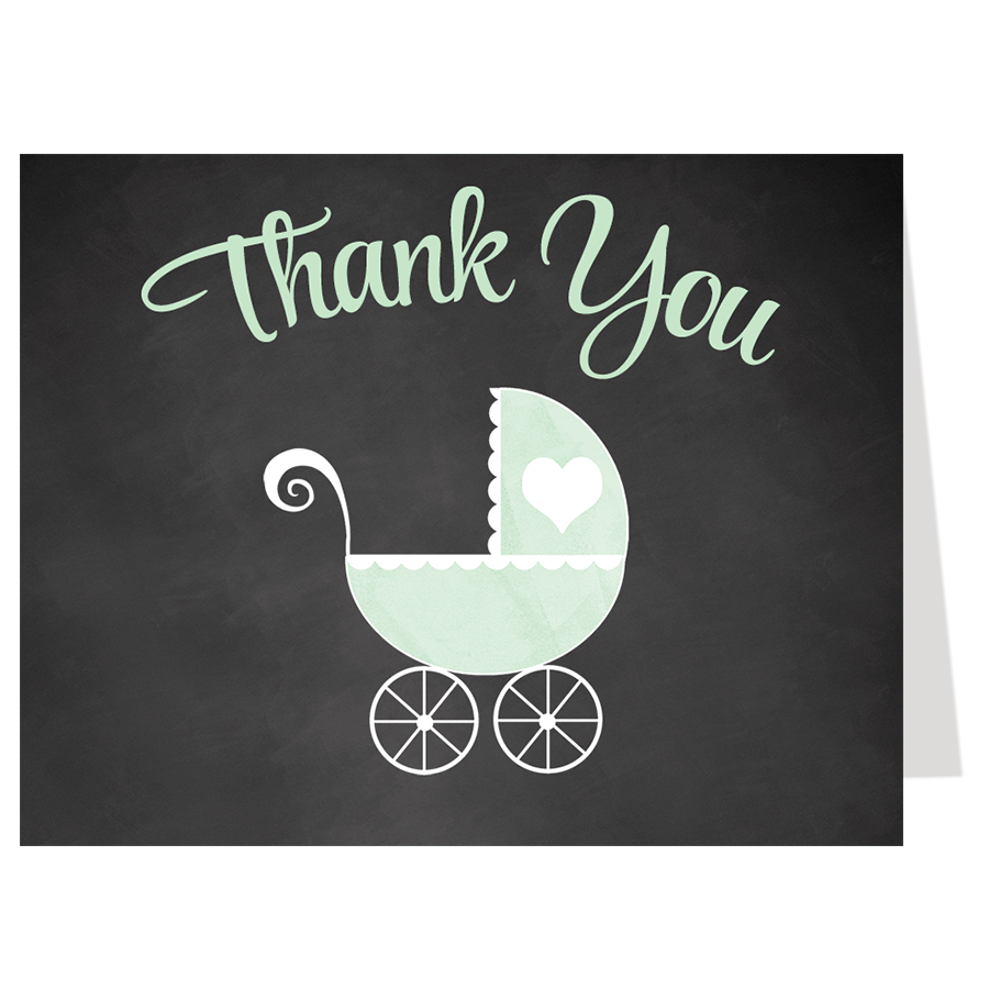 Chalkboard Carriage, Mint, Thank You Card