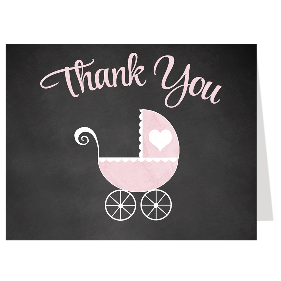 Chalkboard Carriage, Pink, Thank You Card