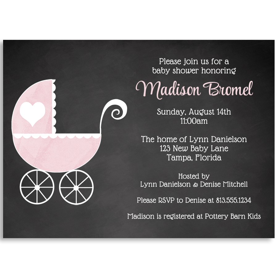 Chalkboard Carriage, Pink, Baby Shower Invitation