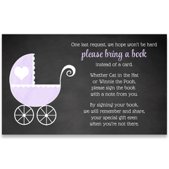 Chalkboard Carriage, Purple, Baby Shower Invitation