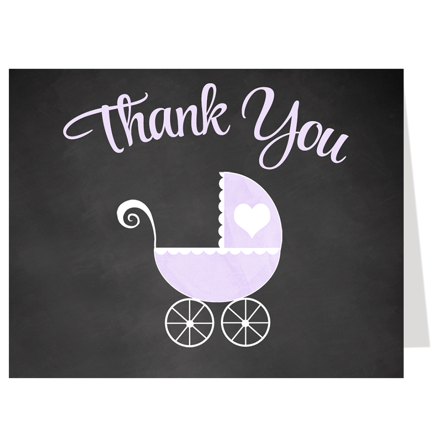 Chalkboard Carriage, Purple, Thank You Card