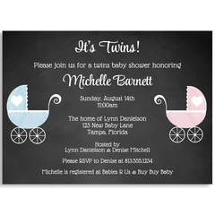 Chalkboard Carriage, Twins, Baby Shower Invitation