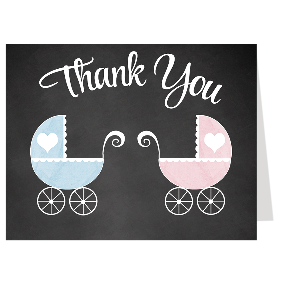 Chalkboard Carriage, Twins, Thank You Card