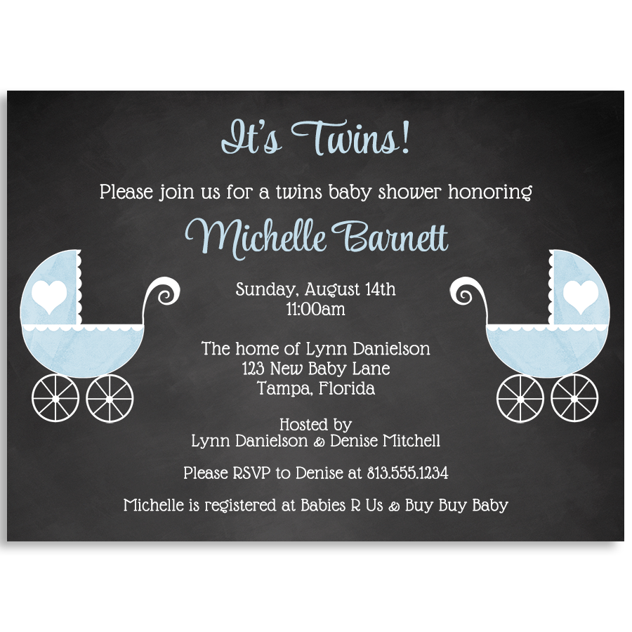 Chalkboard Carriage Twin Boys Baby Shower Invitation
