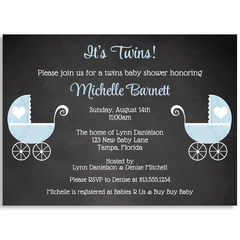 Chalkboard Carriage, Twin Boys, Baby Shower Invitation