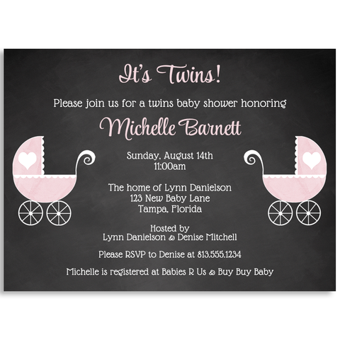 Chalkboard Carriage, Twin Girls, Baby Shower Invitation