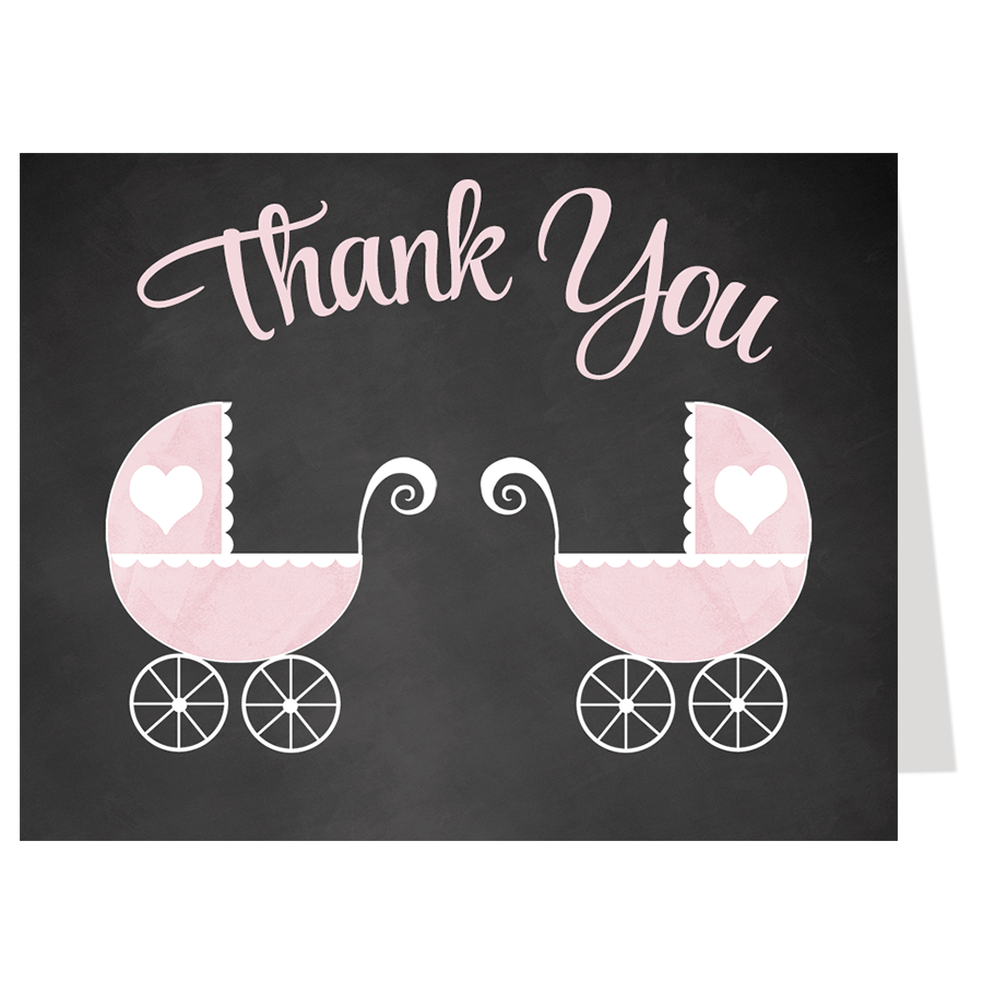 Chalkboard Carriage, Twin Girls, Thank You Card