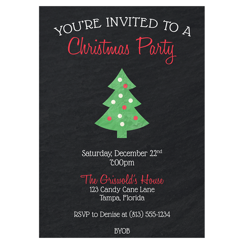 Chalkboard Tree Christmas Party Invitation