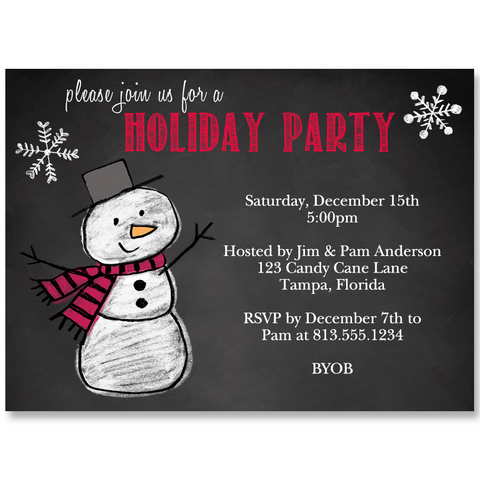 Snowman on Chalkboard Holiday Party Invitation