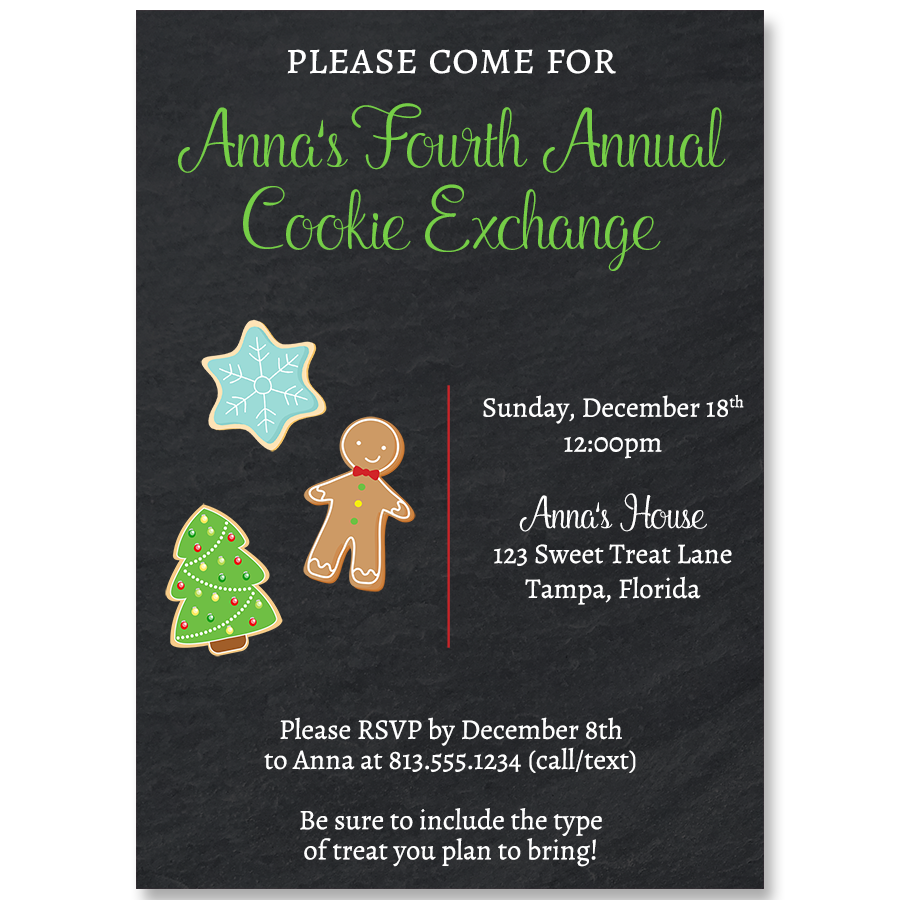 Chalkboard Cookie Exchange Invitation