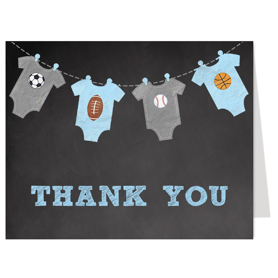 Little All Star Chalkboard Blue Thank You Card