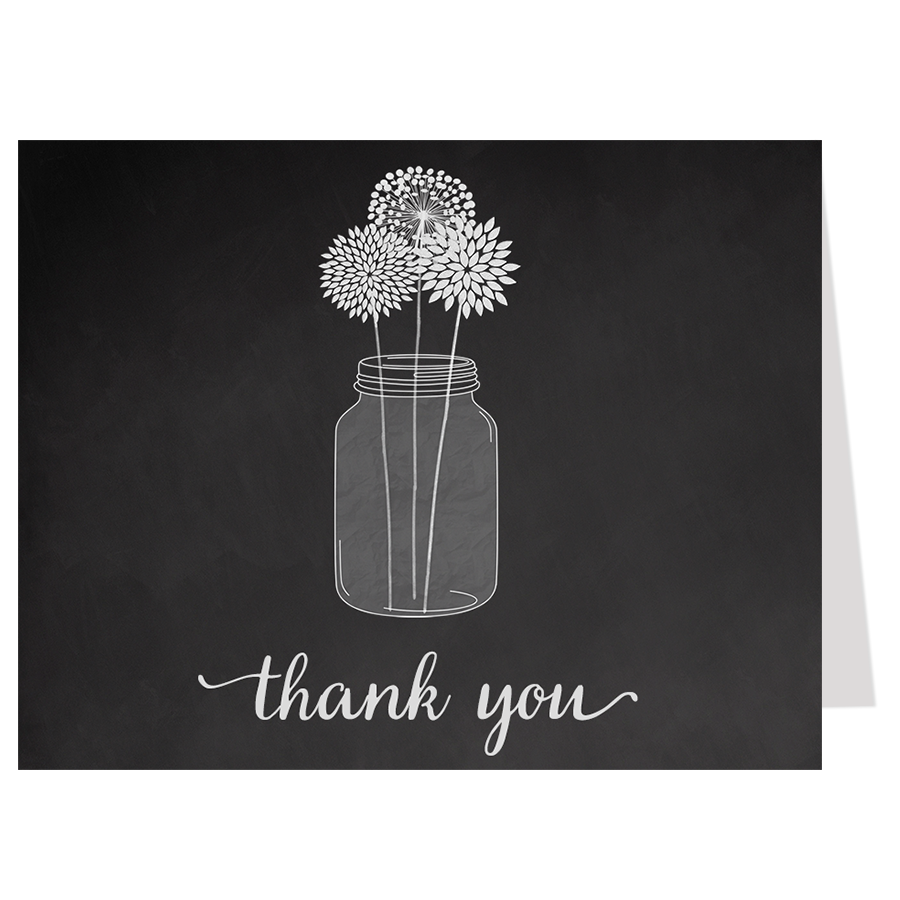 Chalkboard Mason Jar Thank You Card