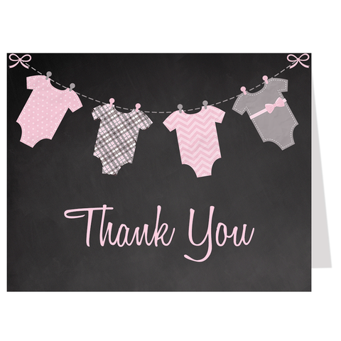 Chalkboard Onesies Pink Thank You Card
