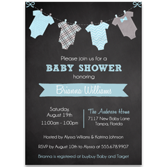 Chalkboard Onesies Boy Baby Shower Invitation
