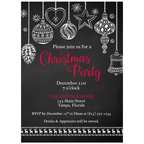 Chalkboard Ornaments Christmas Party Invitation
