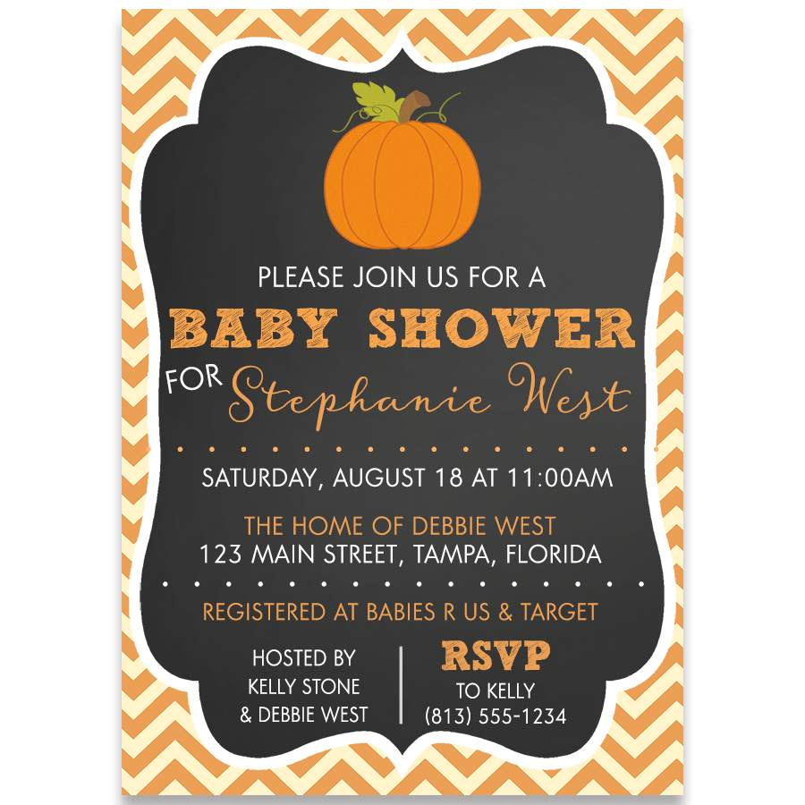 Chalkboard Pumpkin Baby Shower Invitation