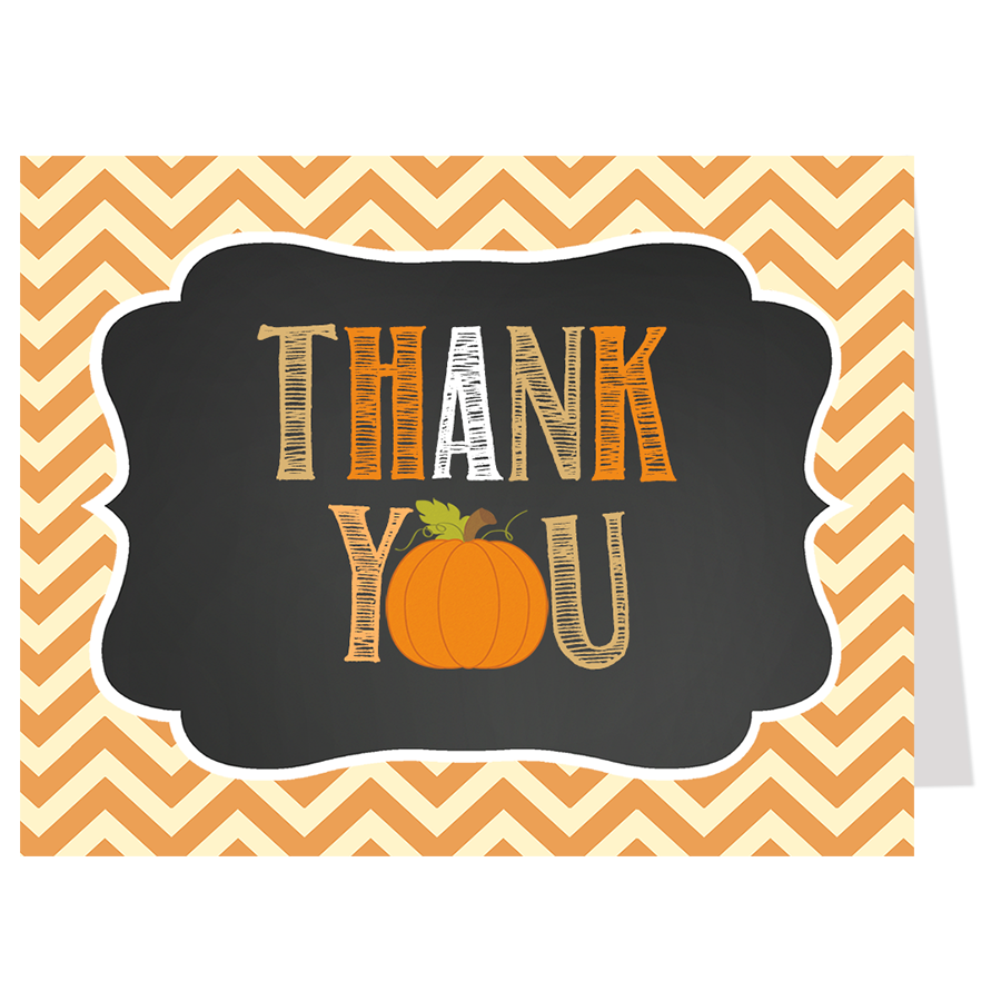 Chalkboard Pumpkin Thank You Card