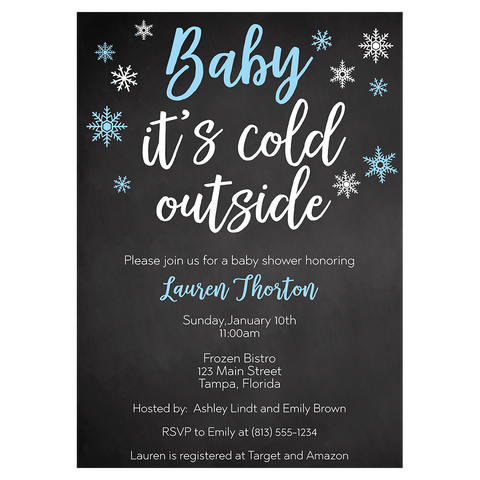 Little Snowflake Chalkboard Blue Baby Shower Invitation