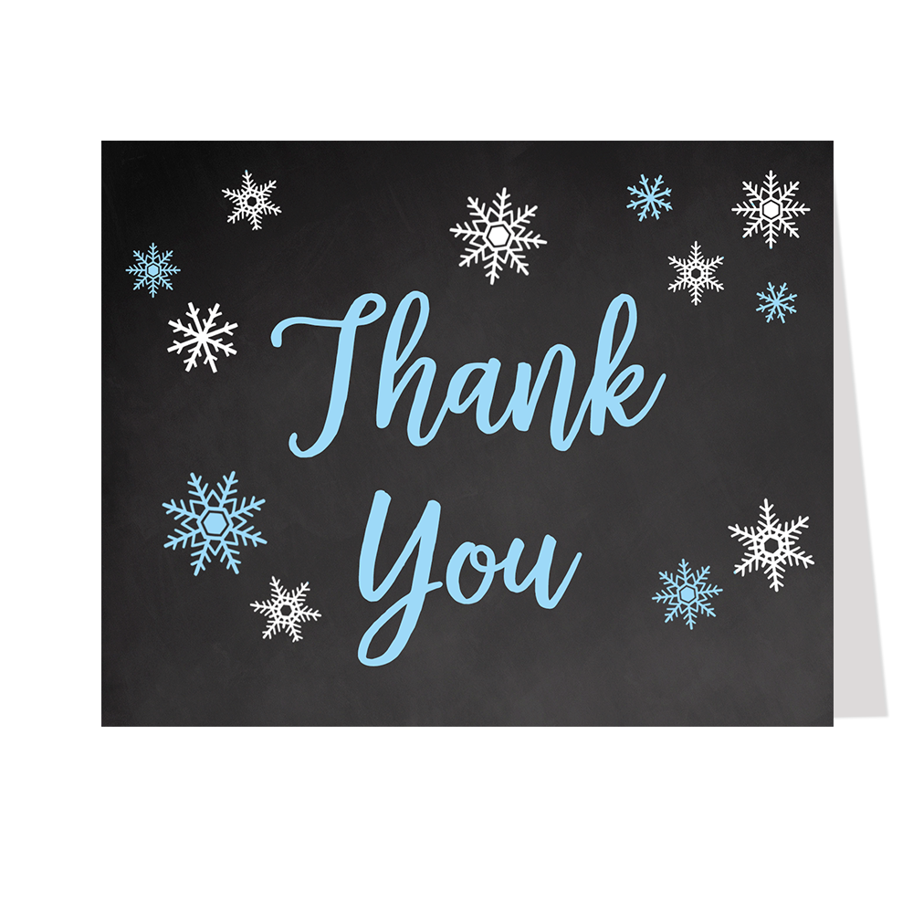 Little Snowflake Chalkboard Blue Thank You Card