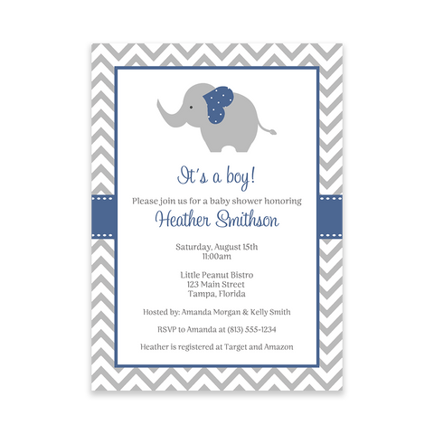 Chevron Elephant Navy Baby Shower Invitation