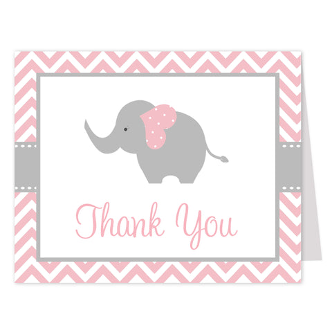 Chevron Elephant Pink Thank You Card