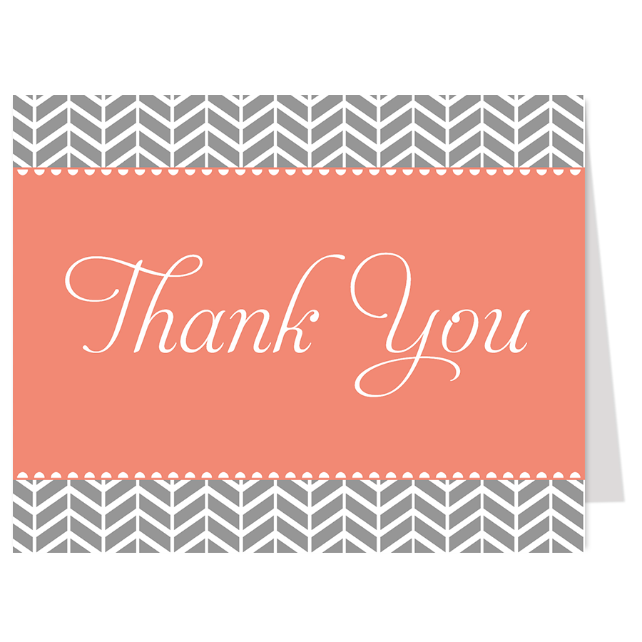 Chevron Baby Coral Thank You Card