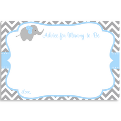 Chevron Elephant Blue Baby Shower Invitation